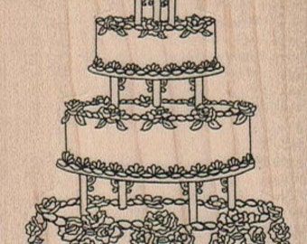 Wedding cake   rubber stamps place cards gifts  wood mounted 16060
