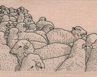 Rubber stamp Large Flock of Sheep lamb    Stamping  whimsical  Rubber Stamp  16924 farm animal