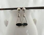 Vintage Onyx Sterling Silver Dangle Post Earrings, Art Nouveau earrings