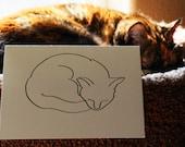 Sumi-e Cat Blank Greeting Card