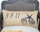 Beach Memories Burlap Pillow - Personalize with a Special Date, Name or Place -  Nautical Seashell and Starfish Design  Burlap Pillow Lumbar