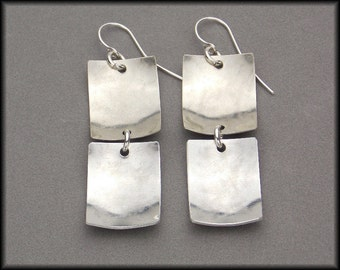 DARA - Handforged Hammered Concave Pewter and Sterling Dangly Earrings