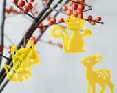 3 Cute Critters - in neon orange transparent plexiglas