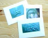 Tranquility Mask, Be, Listen - Handmade gift cards