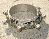 Old Silver Enameled Berber Bracelet with Knobs