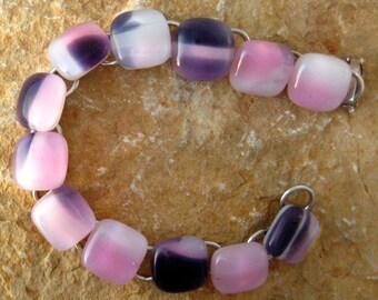 Pink and Purple Glass Bracelet, Fused Glass Bracelet, Link Bracelet,  Jewelry Fused Glass Bracelet  - Arm Candy Glass Bracelet