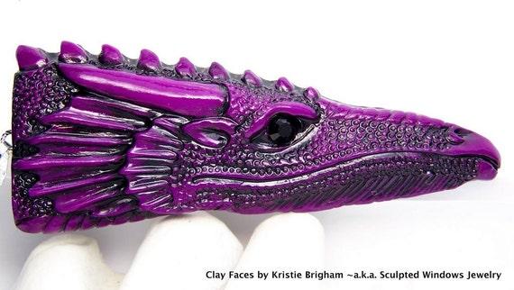Violet Purple Dragon Head Pendant or BEAD Polymer Clay with Black Swarovski crystal EYE