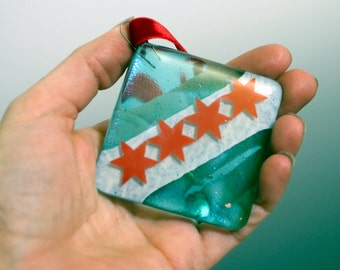 Fused Glass Chicago Flag Ornament
