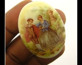 Only 3 in Stock-Vintage 40X30 Glass Limoge Cameo-No 2