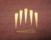 Triangle Spikes Long Thin Charms Flat Brass Drop Supplies Geometric Finding x 6