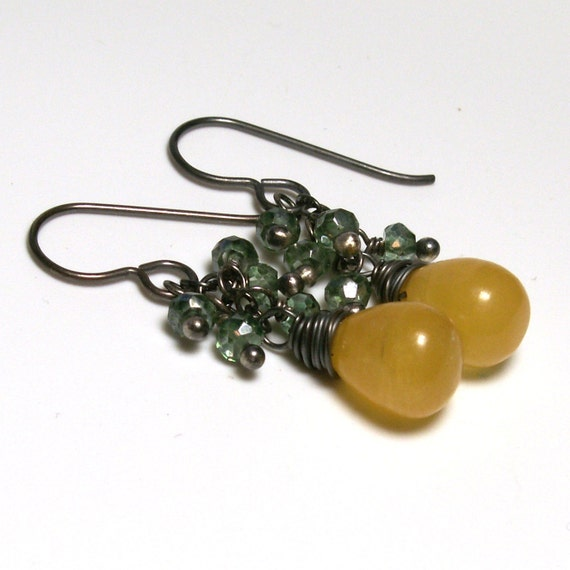 Golden Chalcedony Dangle Earrings with Green Quartz . Sterling Silver