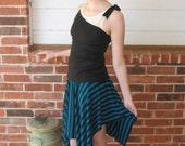 Black and blue striped knit Julia skirt