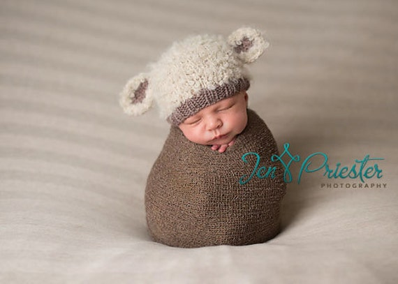 Lamb baby hat hand knit curly hat newborn photo prop cream brown taupe boy girl unisex unigender animal beanie with ears neutral natural