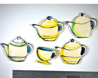 Teapots and  Teacup, 5 Hand Painted Mosaic Tiles