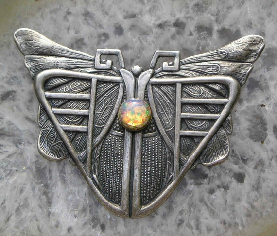 Arts and Crafts era brass tooled MOTH..SILVER and vintage harlequin glass