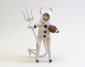 Vintage Style Spun Cotton White Devil Halloween Figure/Ornament