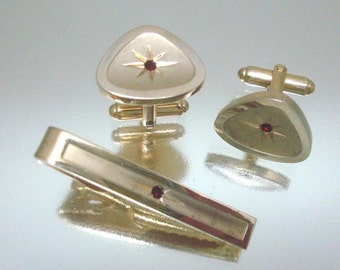 Vintage Cufflinks and Tie Clasp Red Stone