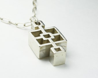 Midcentury Cinder Block Necklace, THICK Small Squares