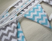 Customizable Red Chevron, Aqua, Gray, pink, Brown Bunting party decoration. Fabric sewn flag banner. Photo prop. Choose  your own colors. - edeenut