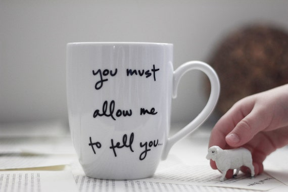 SECONDS SALE - Slight Misprinted Mug - Mr. Darcy Proposal- Jane Austen