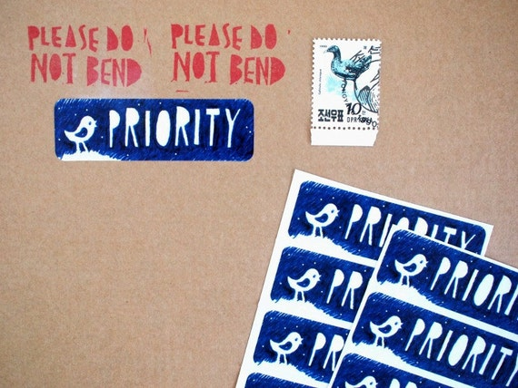 """12  """"PRIORITY"""" stickers/labels - 68x21mm"""