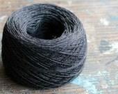 Linen yarn thread -- one ball - black -- 3-ply