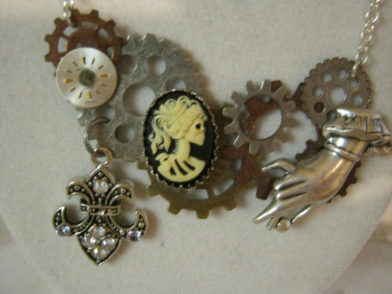 Steampunk Skull Cameo Gear In Hand Necklace