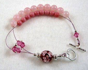 Pretty In Pink -  Abacus Row Counting Bracelet With Lampwork Bead - Item No. 494
