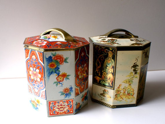 Two Vintage Asian Tea & Biscuit Tins