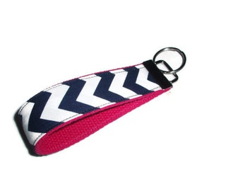 Navy Blue Chevron with Pink Wristlet Keychain