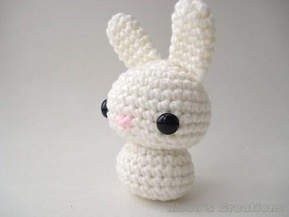 Amigurumi Doll Hair Bun : Soft White Moon Bun Amigurumi Bunny Rabbit Doll