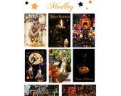 Halloween Lover's Card Medley - Assorted 8 Postcard Set