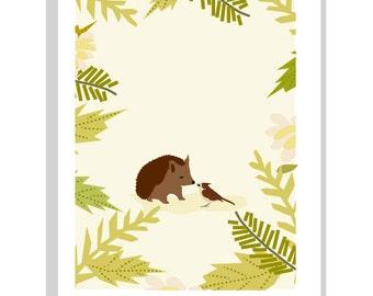 wren and hedgehog nursery print  in 11 x 14 inch mat childrens wall decor