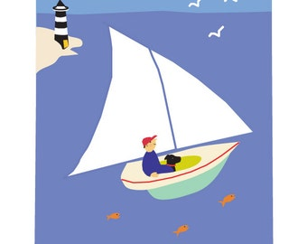 8 x 10 inch print boy and lab in sail boat matted in 11 x 14 inch mat