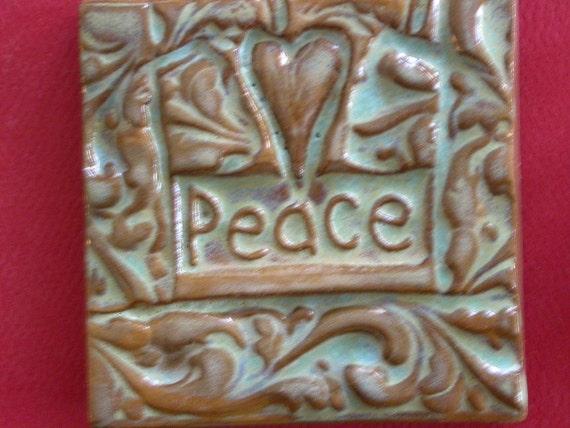 heart peace handmade earthenware tile