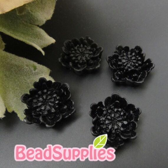 CA-CA-08205 - 6 dotted flower, black, 4 pcs