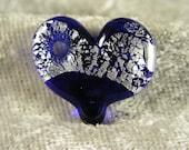 Glass heart: dark blue pendant / art charm - glass & fine silver foil - handmade lampwork