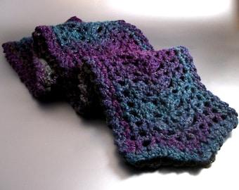 SALE - Aura - Crochet - Scarf - Detailed - Intricate - Purple - Blue - Green - Silver - Sparkles
