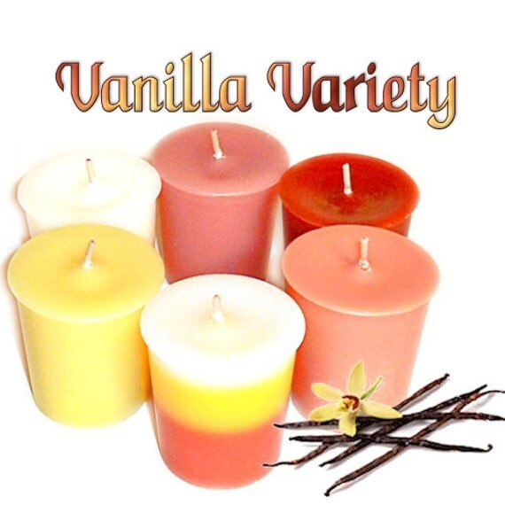 SALE Vanilla Votive Candle Sampler Pack 6 Different Vanilla Scents Assortment