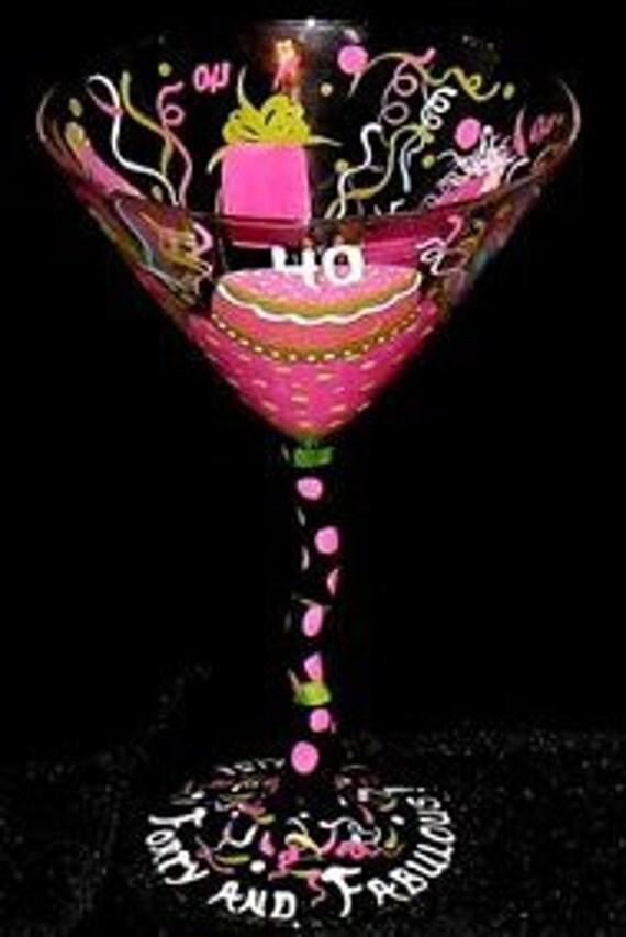 Hand Painted 30, 40, 50, 60... PERSONALIZED BIRTHDAY GLASS - Margarita, Wine, Martini
