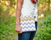 New Crossbody small travel bag purse in Gray Chevron with Mustard Yellow  zipper accents