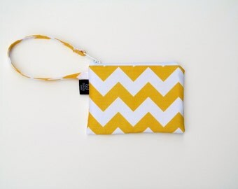 New yellow Chevron Wristlets  Ready to ship cell phone, iphone, camera gadget bag
