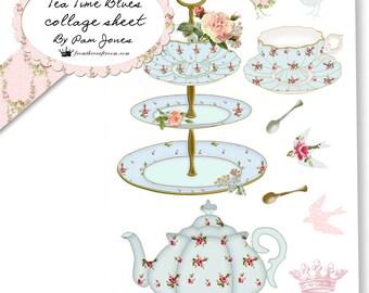 Tea Time Blues Digital Collage sheet