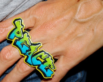 Graffiti Peace 2 Finger Ring by beebles