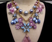 RESERVED FOR AGNES Vintage Flower Statement Bib Necklace - Fleur