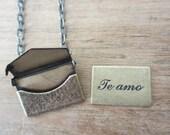 SALE - Love Letter Locket Necklace, Te Amo