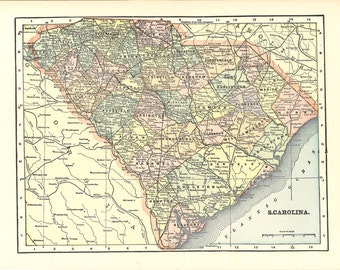 map of South Carolina from 1904, unique gift or home decor, printable digital download no. 893
