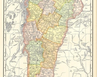 map of Vermont from a 1904 encyclopedia,  printable digital download no. 134