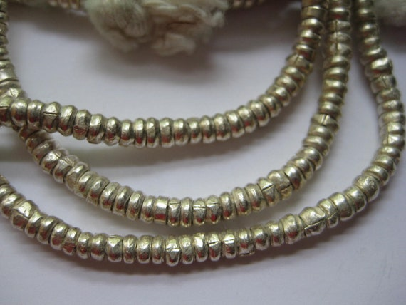SALE 3 strands of Ethiopian small metal silver heishi beads