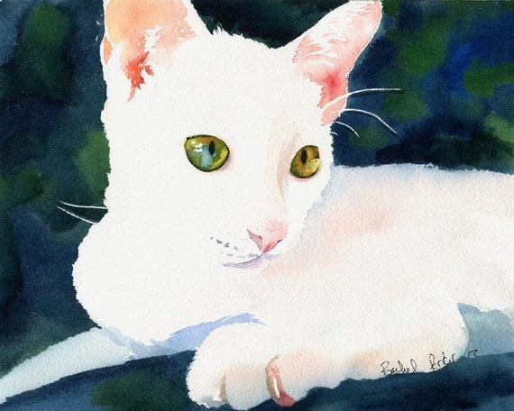 White Cat art Original watercolor painting Blue Eye Yellow Eye